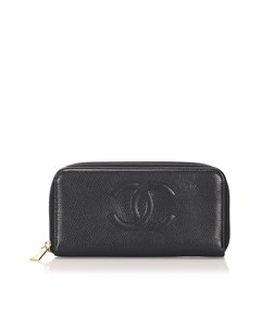 Chanel Cc Caviar Zip Around Wallet Black