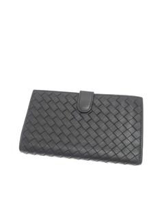 Bottega Veneta Intrecciato Leather Long Wallet Black