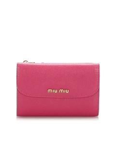 Miu Miu Leather Compact Wallet Pink