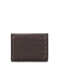 Bottega Veneta Intrecciato Leather Card Holder Brown
