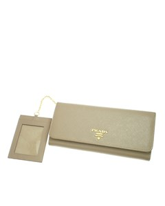 Prada Saffiano Long Wallet Brown