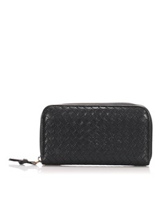 Bottega Veneta Intrecciato Zip Around Wallet Black