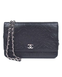 Chanel Camellia Lambskin Leather Wallet On Chain Black