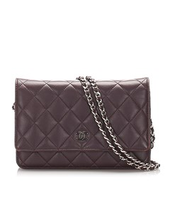 Chanel Matelasse Lambskin Leather Wallet On Chain Purple