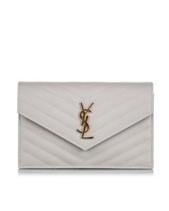Ysl Chevron Monogram Wallet On Chain Pink