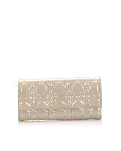 Dior Cannage Patent Leather Long Wallet Gray