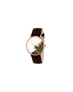 Clueless-Uhr mit braunem Lederarmband