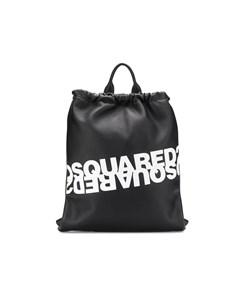 Dsquared2 Black White Logo Leather Backpack