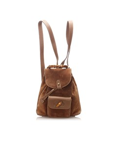 Gucci Bamboo Suede Backpack Brown