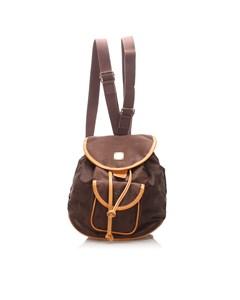 Mcm Visetos Nylon Drawstring Backpack Brown