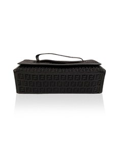 Fendi Vintage Black Monogram Canvas Cosmetic Case Bag