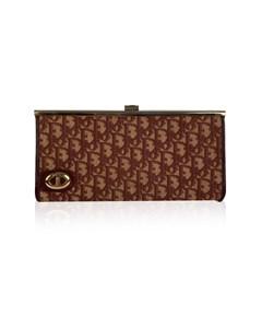 Christian Dior Vintage Burgundy Logo Tapestry Canvas Clutch Purse