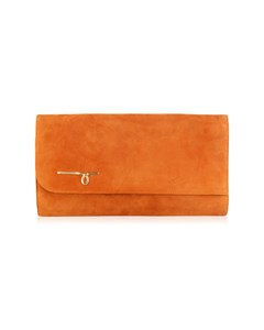 Laura Biagiotti Vintage Tan Orange Suede Clutch Shoulder Bag