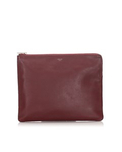 Celine Leather Clutch Bag Red