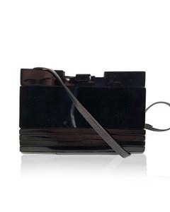 Fendi Vintage Black Lucite And Leather Clutch Shoulder Bag
