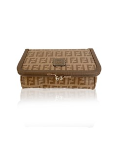 Fendi Vintage Tan Monogram Vinyl Canvas Cosmetic Case