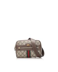 Gucci Gg Supreme Web Ophidia Belt Bag Brown