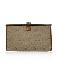 Christian Dior Vintage Beige Logo Canvas Small Clutch Bag