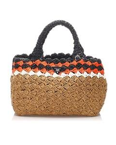 Prada Straw Handbag Brown