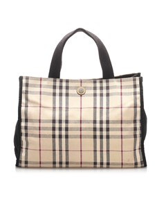 Burberry House Check Canvas Handbag Brown