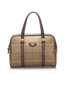 Burberry Plaid Canvas Handbag Brown