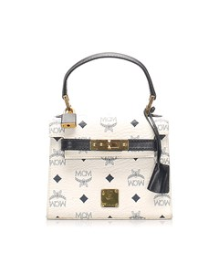 Mcm Mini Visetos Leather Handbag White