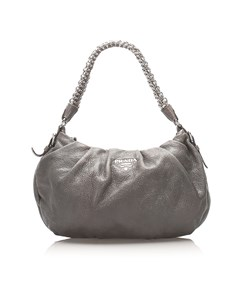 Prada Leather Chain Shoulder Bag Gray
