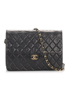 Chanel Cc Timeless Lambskin Leather Single Flap Bag Black