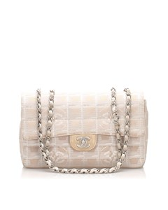 Chanel New Travel Line Nylon Single Flap Bag Brown