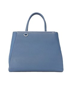 Fendi Medium 2jours Leather Satchel Blue