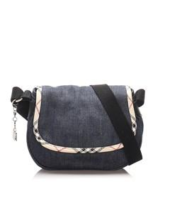 Burberry Nova Check Denim Crossbody Bag Blue