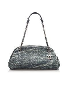 Chanel Camellia Mademoiselle Denim Shoulder Bag Blue