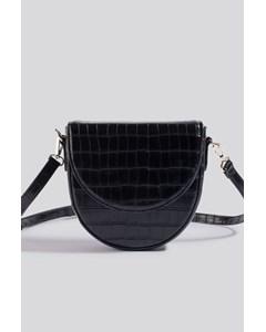 Boxy Half Moon Shoulder Bag Black Croco