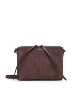 Top Zipper Crossbody Bag In Brown Suede Brown