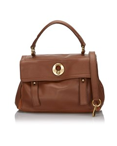 Ysl Leather Muse Two Satchel Brown