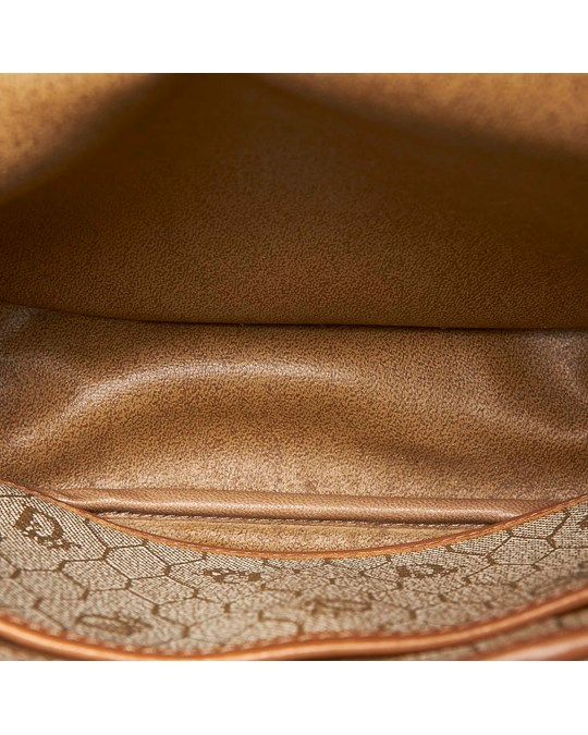 Christian Dior Dior Honeycomb Coated Canvas Crossbody Bag Brown