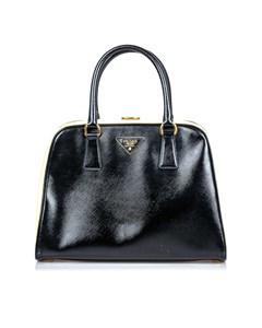 Prada Saffiano Pyramid Handbag Black