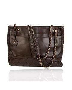 Chanel Vintage Brown Leather Shoulder Bag Tote Bottom Quilting