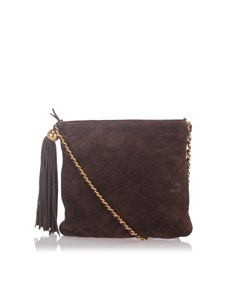 Chanel Suede Leather Chain Crossbody Bag Brown