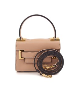Valentino Mini My Rockstud Leather Satchel Brown