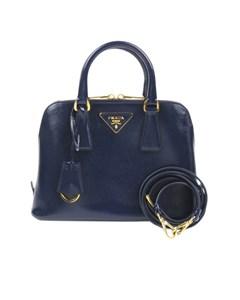 Prada Small Saffiano Leather Lux Promenade Satchel Blue