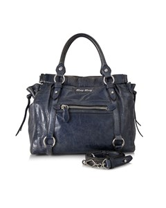 Miu Miu Vitello Lux Shopping Bag Blue