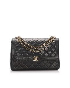 Chanel Lambskin Leather Double Flap Shoulder Bag Black