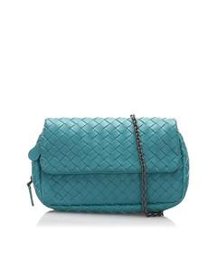 Bottega Veneta Intrecciato Leather Chain Crossbody Bag Blue