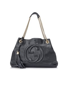 Gucci Soho Patent Leather Chain Shoulder Bag Blue