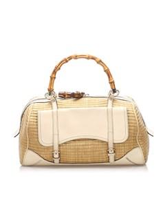 Gucci Bamboo Straw Handbag Brown