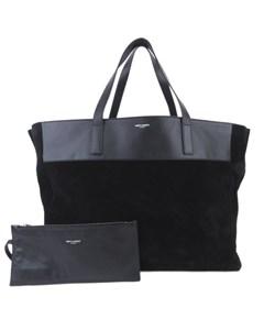 Ysl Reversible E/w Leather Tote Bag Black