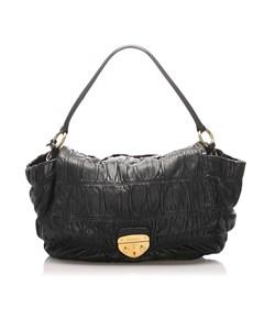 Prada Gaufre Leather Shoulder Bag Black