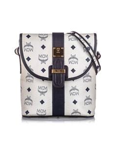 Mcm Visetos Leather Crossbody Bag White