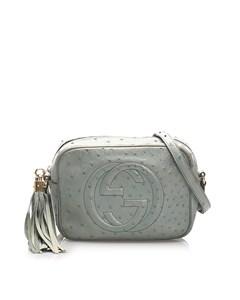 Gucci Soho Disco Ostrich Leather Crossbody Bag Blue